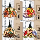 Beads/Flower/Victorian Pendant Light 1 Light 8 Inch Rustic Style Stained Glass Hanging Light for Cafe