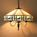 Rustic Style Tent Hanging Light with Deer & Pull Chain Glass Ceiling Light for Living Room