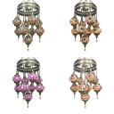 Restaurant Lantern Shape Hanging Light Stained Glass 9 Lights Moroccan Turkish Chandelier