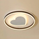 Metal Heart LED Ceiling Mount Light Contemporary Flush Light in Warm/White/Third Gear for Dining Room