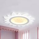 Smiling Sun Kindergarten Flush Mount Light Acrylic Cartoon LED Ceiling Light in Warm/White'