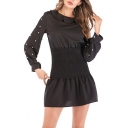 Womens Black Chic Beading Embellished Long Sleeve Round Neck Sash Waist Mini A-Line Dress
