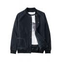 Mens Fashion Contrast Stitching Stand Collar Long Sleeve Snap Placket Baseball Denim Jacket Coat