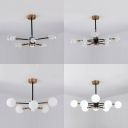Contemporary Sphere Suspension Light Clear/Milk Glass 6/8 Heads Chandelier for Restaurant