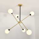 Modern Gold Arm Chandelier Orb Shade 6/8 Lights Glass Pendant Light for Restaurant Stair