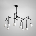 8/9/12 Lights Willow Branch Chandelier Modern Metal Hanging Lamp in Black/Gold for Living Room