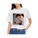 New Trendy Funny Cartoon Princess Pattern Short Sleeve Round Neck White Tee