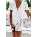 Fashion Simple Plain Surplice V-Neck Short Sleeve Tied Waist Mini Sheath Wrap Dress