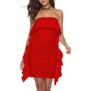 Hot Fashion Simple Plain Strapless Ruffled Hem Mini Bodycon Bandeau Dress