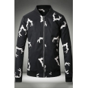 Allover Deer Horn Pattern Stand Collar Long Sleeve Zip Up Black Fitted Jacket