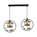 Stained Glass House Hanging Light with Bird Decoration 2 Lights Rustic Style Pendant Lamp for Bar