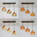 3 Lights Sunflower Pendant Light Rustic Style Stained Glass Ceiling Pendant for Living Room
