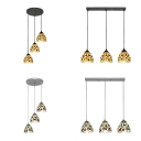 Black/Silver Canopy Pendant Light with Flower 3 Lights Tiffany Antique Stained Glass Hanging Light for Cafe