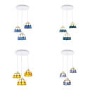 Glass Grid Bowl Pendant Lighting 3 Lights Tiffany Antique Ceiling Pendant for Dining Room