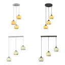Modern Style Sphere Pendant Light Shell 3 Lights Black/Silver Suspension Light for Hotel