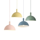 Contemporary Candy Colored Pendant Light with Bowl Shade 1 Light Metal Hanging Lamp for Bedroom