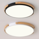 Child Bedroom Circle Flush Mount Light Acrylic Nordic Style Black/White Ceiling Lamp with Warm/White Lighting