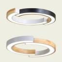 Japanese Style Black/White Ceiling Light Half-Ring Acrylic LED Flush Light in Warm/White for Bedroom