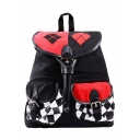 Fashion Classic Colorblock Plaid Printed Double Pockets Front Black Drawstring Travel Bag School Backpack 30*17*38 CM