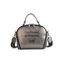 Trendy Letter THE POWAR AF DTAEMS Print Wide Strap Zipper Crossbody Satchel Shoulder Bag 19*17*11 CM
