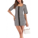 Stylish Houndstooth Pattern Vintage Square Neck Short Sleeve Black Mini Bodycon Dress