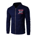 Guys Cool Simple Letter BEER PONG 420 Pattern Stand Up Collar Zip Up Fitted Jacket