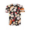 3D Sushi Pattern Basic Short Sleeve Regular Fitted T-Shirt