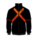 Comic Cosplay Costume Orange Cross Printed Stand Collar Zip Up Black Jacket