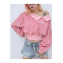 Popular Cool Letter ROCK MORE Embroidery Cold Shoulder Long Sleeve Pink Crop Sweatshirt
