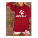 Popular Letter MAMA BEAR Footprint Pattern Round Neck Long Sleeve Loose Fit Sweatshirt
