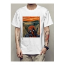Summer Funny Comic Deadpool Oil Painting Round Neck Short Sleeve White Tee