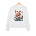 The Great Ramen Wave Printed Round Neck Long Sleeve White Casual Sweatshirt