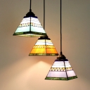 Stained Glass Craftsman Pendant Light 3 Lights Rustic Ceiling Light with Bronze Canopy for Study Room
