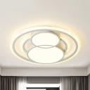 Modern Snowman LED Ceiling Mount Light Acrylic White Flush Light in Warm/White for Adult Bedroom