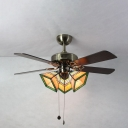Craftsman Living Room Semi Flush Ceiling Light Metal 3 Heads Vintage Ceiling Fan with Wood Blade