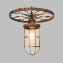 Metal Bulb Cage Pendant Light with Wheel 1 Light Industrial Ceiling Pendant in Bronze for Bar