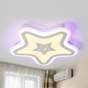 Simple Style Star Flushmount Light Acrylic White LED Ceiling Lamp in Neutral/White/Yellow for Kindergarten
