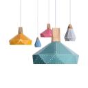 Macron Loft Candy Colored Hanging Light Diamond Shape Single Light Metal Pendant Light for Cloth Shop