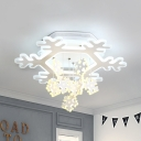Creative Snowflake LED Semi Ceiling Mount Light Stepless Dimming/Warm/White Ceiling Lamp for Nursing Room