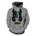 Cartoon Comic Pocket Toothless Dragon Print Long Sleeve Grey Unisex Hoodie