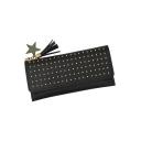 Fashion Plain River Star Tassel Embellishment Clutch Purse 19*2*9.5 CM