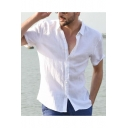 Mens Summer Simple Plain Short Sleeve Button Front Casual Loose Shirt
