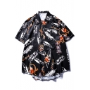 Summer Popular Feather Tiger Print Short Sleeve Loose Fit Black Beach Shirt