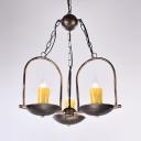 Fake Candle Living Room Chandelier Metal 3 Lights Vintage Stylish Suspension Light in Bronze