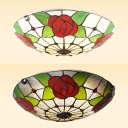 Stained Glass Bowl Ceiling Mount Light with Red Rose Bedroom Tiffany Rustic Ceiling Fixture