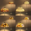 Tiffany Vintage Colorful Floor Lamp Flower/Lattice/Leaf Glass Standing Light for Hotel Villa