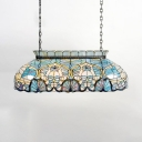 Stained Glass Island Light Restaurant Tiffany Style Victorian Island Chandelier in Blue