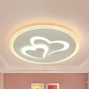 Double Heart Ceiling Lamp Modern Acrylic LED Flush Ceiling Light in Warm/White/2 Lighting Modes for Girls Bedroom