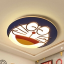 Acrylic Blue Cat LED Ceiling Mount Light Kindergarten Cartoon Warm/White Lighting Ceiling Fixture