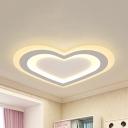 Cartoon White Flush Ceiling Light Heart Acrylic Warm/White Lighting LED Ceiling Lamp for Teen